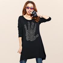 安致儿女装2013秋款夏装大码长袖蝙蝠衫宽松韩版T恤长款打底衫 价格:79.00