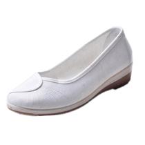 【淘牛品】老北京布鞋护士鞋 白色坡跟 美容鞋黑色工作鞋女单鞋 价格:18.00