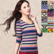 今日包邮2013新款秋冬装韩版女复古条纹修身长袖T恤打底衫 潮 价格:14.90