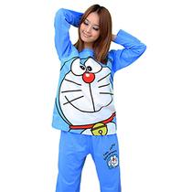 机器猫睡衣多啦a梦情侣家居服秋冬季纯棉男女士卡通长袖睡衣套装 价格:69.00