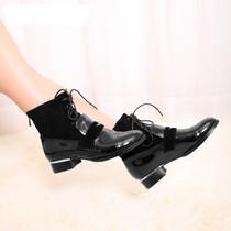 秋冬款品 蔓丽柏莉 朋克淑女鞋 漆皮韩版休闲短靴 时尚鞋子 601-7 价格:168.00