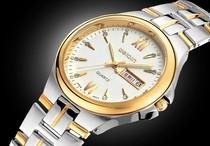 正品威琴双日历男士手表韩国时尚防水情侣手表休闲钢表商务时装表 价格:78.00