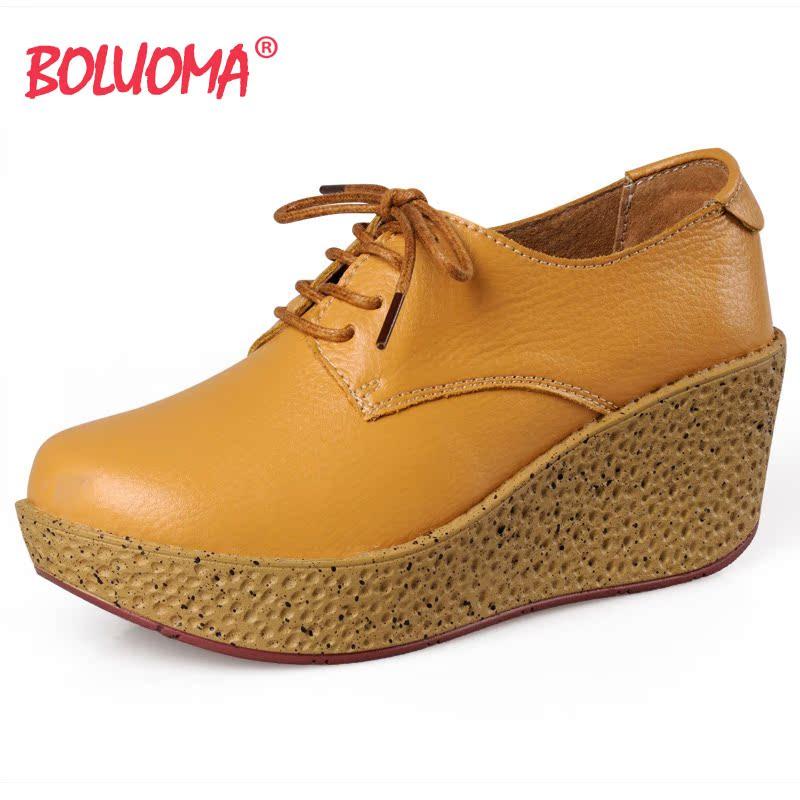 秋款坡跟女鞋欧美风英伦女鞋休闲鞋女单鞋真皮厚底松糕女鞋R02 价格:88.00