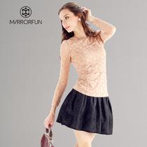 品牌特卖6折MIRROR FUN 2013秋装新款长袖蕾丝打底衫女上衣蕾丝衫 价格:113.00
