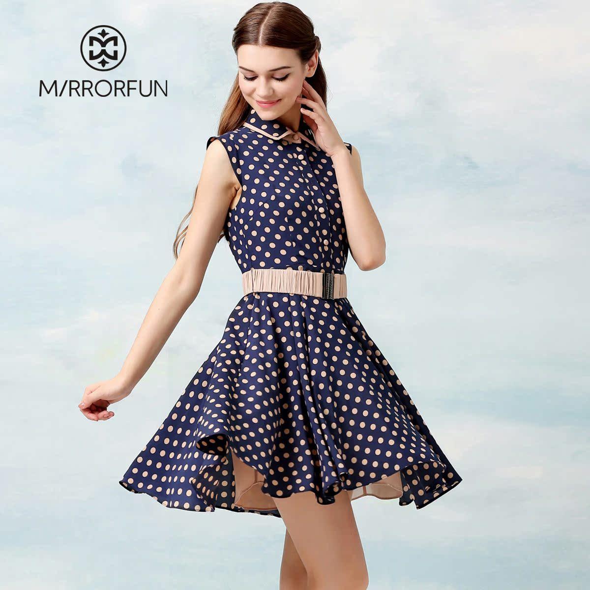 品牌特卖189元 MIRROR FUN 夏装新款 赫本复古蓝色无袖波点连衣裙 价格:189.00