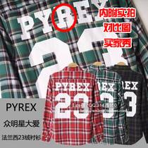 权志龙 陈冠希 Pyrex Vision Champion 23号 格子 长袖衬衫 衬衣 价格:99.00