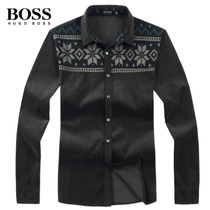 极致奢华 2013秋装新款BOSS男士衬衫长袖 专柜正品方领休闲衬衣男 价格:339.00