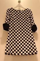 2013秋装新款女装JORYA SHYH韩国代购复古格子修身七分袖连衣裙 价格:368.00