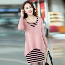 欧趣韩版2013秋季新款时尚针织衫两件套长袖圆领针织衫中长款外套 价格:108.00
