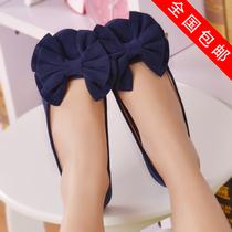 包邮vivi欧美潮夏季圆头平跟单鞋大蝴蝶结豹纹平底鞋公主娃娃鞋女 价格:19.97