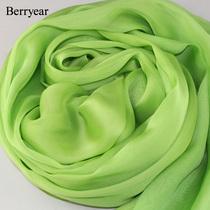 Berryear 正品清新苹果绿色真丝围巾高档桑蚕丝丝巾纯色披肩 绿萝 价格:68.00