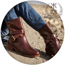 木沐馆  欧美个性复古军靴马蹄跟 真皮牛皮牛带扣装饰短筒骑士靴 价格:599.00
