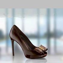 欧洲站新款路易女鞋 欧美女单鞋镂空跟鞋 低帮鱼嘴漆皮超高跟鞋 价格:290.00