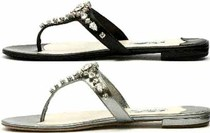 现货★PRADA水钻T字夹趾平底凉拖鞋银黑 价格:4395.00