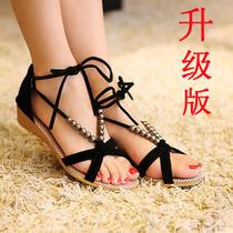包邮2013夏季新款欧美串珠绑带低跟坡跟鱼嘴罗马凉鞋女鞋 潮 价格:25.00