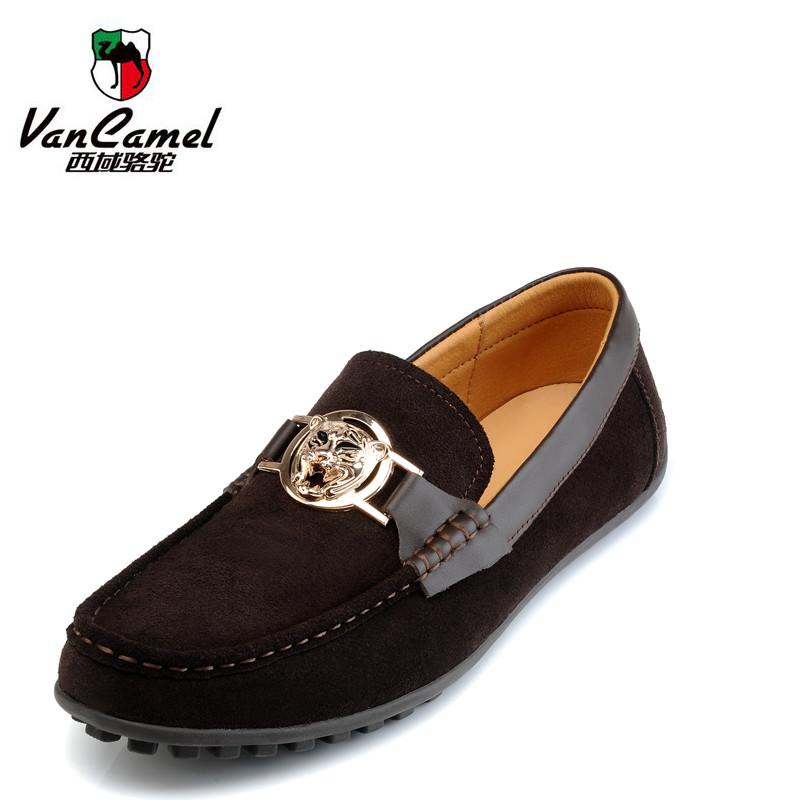 vancamel男鞋时尚男士真牛皮皮鞋西域骆驼休闲鞋驾车鞋豆豆鞋1038 价格:238.00