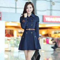 苏菲安 2013秋装新品女装 时尚修身女式中长款双排扣风衣外套 YF 价格:258.00