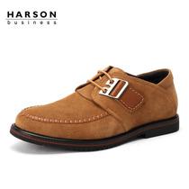 哈森/harson真皮男鞋 2013秋季新款扁头系带反绒欧伦皮鞋ML36523 价格:878.40