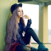 罗安迪2013修脸哑光长卷发中分刘海香芋紫色一米长空气卷假发1107 价格:138.00
