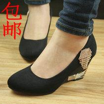 包邮春季磨砂水钻浅口套脚流苏中跟坡跟厚底时尚工作鞋单鞋女鞋子 价格:50.00