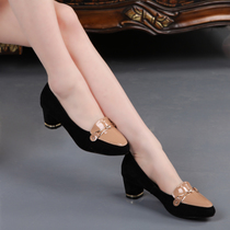 波伦尼特2013春新品复古坡跟粗跟拼色中跟金属搭扣羊皮尖头单鞋女 价格:168.00