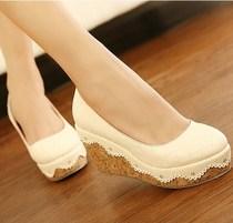 韩国代购2013新秋女单鞋韩国公主甜美高跟松糕跟坡跟厚底百搭凉鞋 价格:76.00