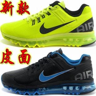 耐克跑步鞋airmax2013新款秋冬季气垫跑鞋皮面男士鞋运动鞋慢跑鞋 价格:286.00