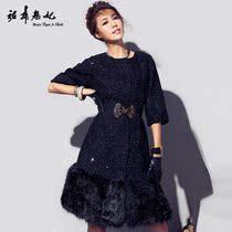 裙舞魅妃2013秋冬新款独家原创高档奢华黑色毛呢外套长款大衣F388 价格:689.00
