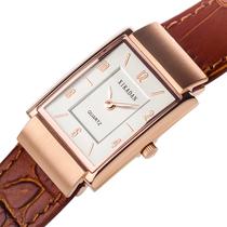 西卡丹 皮带手表女 真皮手表 商务男表 复古超薄真皮女表情侣对表 价格:298.00