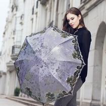 天堂伞正品防紫外线超轻遮阳黑胶花翎缎子绣花蕾丝折叠晴雨太阳伞 价格:78.00