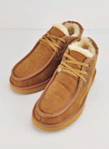雪地靴男系带真皮秋冬短靴羊皮毛一体贝克汉姆5866正品代购栗色 价格:280.00