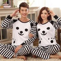 特价秋冬情侣睡衣可爱纯棉情侣长袖睡衣套装熊猫情侣家居服居家服 价格:56.00