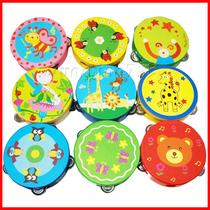 手铃鼓大号15cm 木制奥尔夫乐器幼儿园卡通手铃鼓手拍鼓手摇鼓 价格:8.50