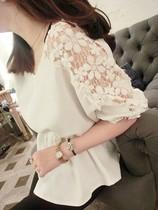 【蘑菇街】推荐 新款时尚 肩部蕾丝花朵拼接雪纺收腰上衣 价格:59.99