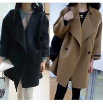 2013秋冬季新款女装 韩版甜美大翻领斗篷双排扣中长外套呢子大衣 价格:126.00