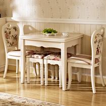 现代简约时尚田园白色可伸缩折叠餐桌椅组合宜家小户型实木饭桌子 价格:890.00