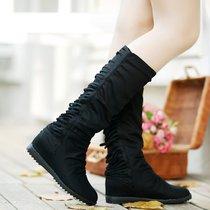 流苏靴平底内增高筒长靴子中靴2014春秋新款牛仔帆布鞋少女靴单靴 价格:87.00