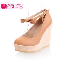 2014春秋季高跟鞋坡跟鞋防水台女士鞋子 厚底蝴蝶结装饰女鞋子 价格:89.10