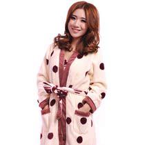 春秋款浴袍珊瑚绒睡袍女长袖佰伦世家冬款特价居家服女两件套包邮 价格:149.00