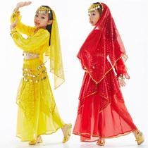 舞娘六一儿童节肚皮舞服装幼稚园表演印度舞套装 灯笼长袖+亮点裙 价格:38.00