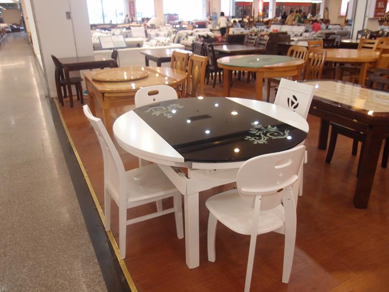 实木 可伸缩折叠餐桌钢化玻璃饭桌子 两用圆桌橡胶木玻璃餐桌椅 价格:1048.00