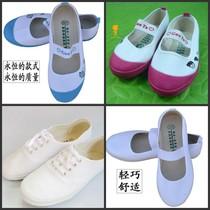 青岛环球舞蹈鞋白球鞋练功鞋室内鞋体操鞋学生鞋幼儿园童鞋小白鞋 价格:7.50