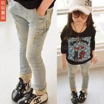 春款童装2014新款韩版女童牛仔裤蕾丝边儿童长裤子小脚铅笔裤 特 价格:69.99