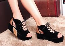 欧美鱼嘴鞋女2014新款罗马厚底鞋松糕鞋凉鞋平跟黑色夏季绑带系带 价格:31.00