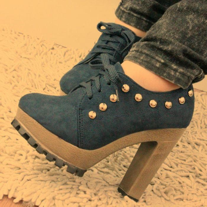 粗跟铆钉高跟鞋系带韩国公主马丁靴厚底防水台短靴裸靴女单鞋新款 价格:49.90