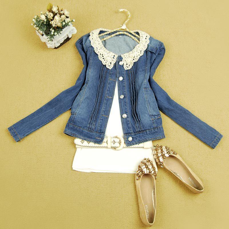 2013春装韩版女装圆领泡泡袖单排扣小牛仔短外套女 价格:47.20