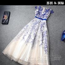 长款礼服高端欧美大牌连衣裙夏长裙小洋装公主裙2014欧洲站最新款 价格:480.00