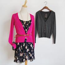 秋装新品BCBG开衫 女装针织开衫 薄 纯色短款 贝壳扣 V领 欧美版 价格:29.00
