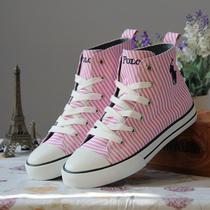 外贸春季2013高帮系带粉色条纹 保罗 帆布鞋单鞋亲子鞋韩版潮流 价格:83.00