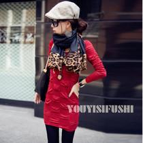 2013新款 韩国版型 洋气修身时尚连衣裙 黑色/红色Y110052 价格:49.50